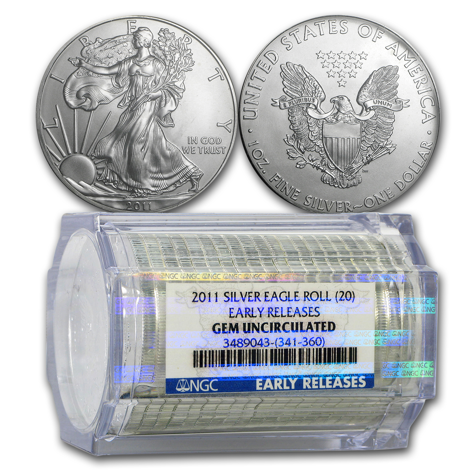 2011 Silver Eagles - BU NGC - 20-Coin Sealed Tube/Early Releases