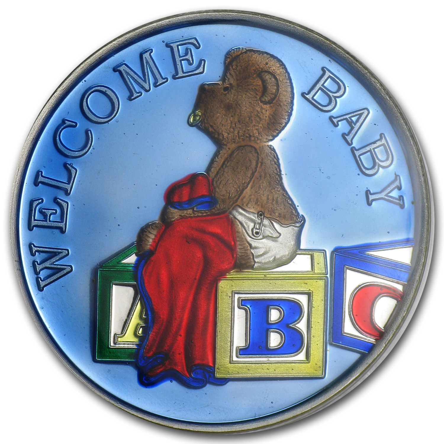 1 oz Silver Round - Welcome Baby Boy Blue Enameled (w/Box & Cap)