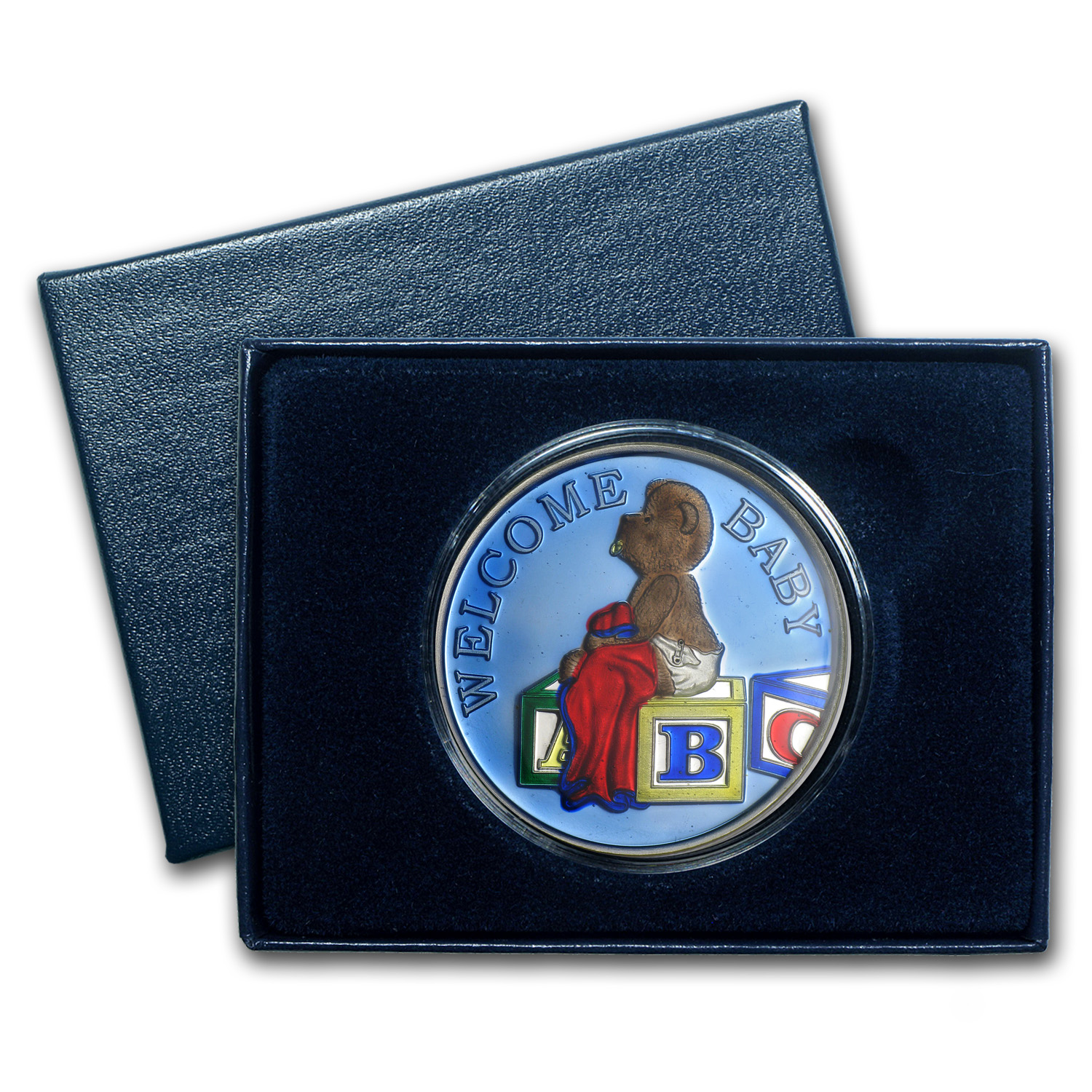 1 oz Silver Round - Welcome Baby Boy (Blue Enameled, w/Box & Cap)