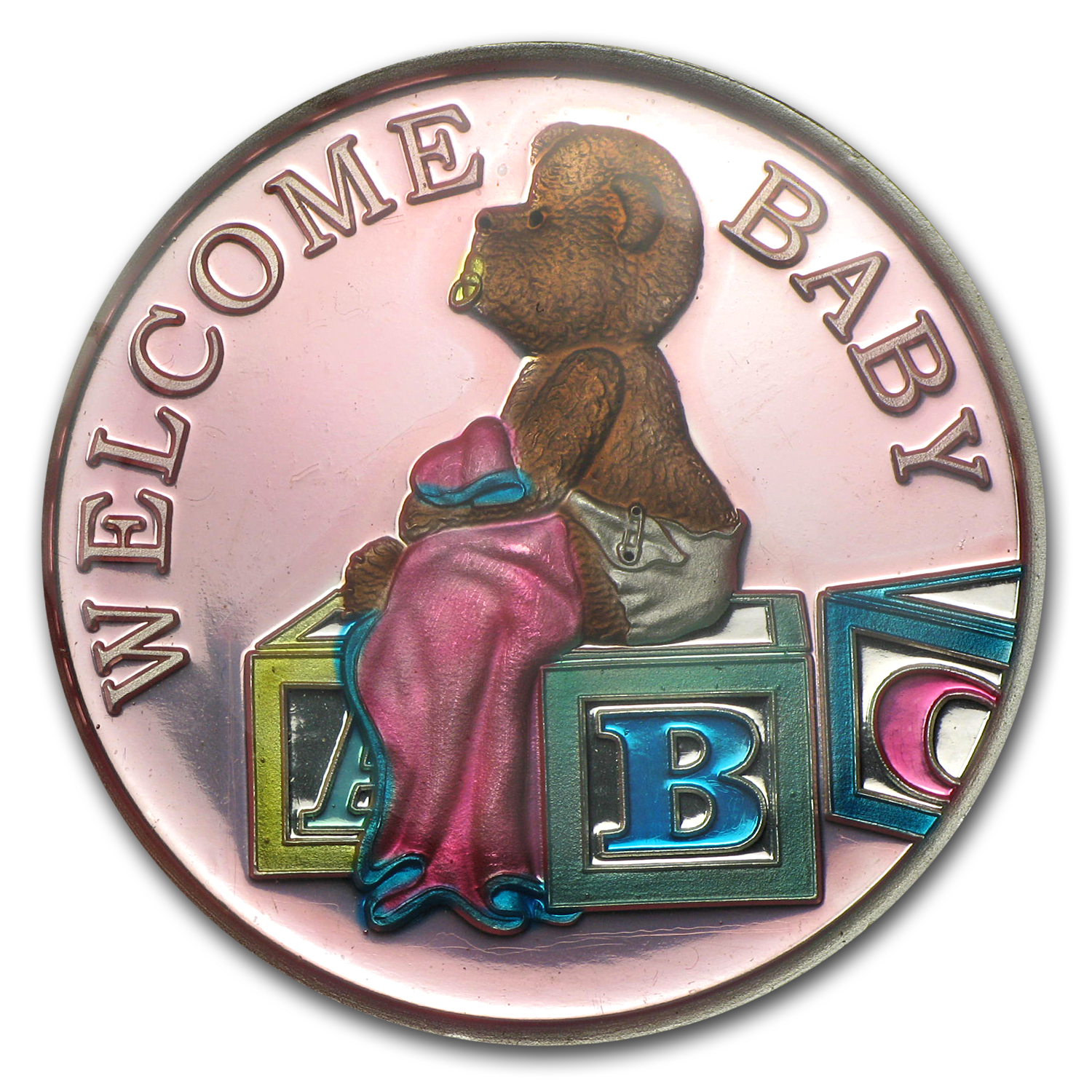 1 oz Silver Round - Welcome Baby Girl Pink Enameled (w/Box & Cap)