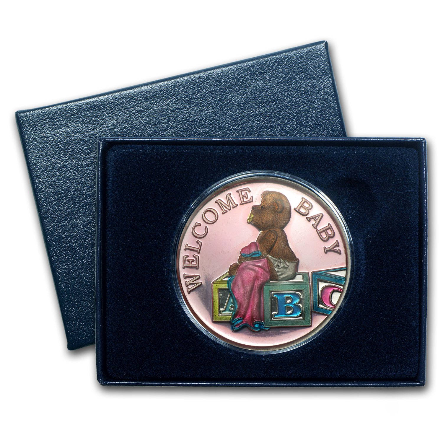 1 oz Silver Rnd - Welcome Baby Girl (Pink Enameled, w/Box & Cap)