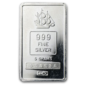 5 gram Silver Bars - Johnson Matthey (Clipper Ship)