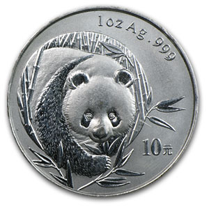 2003 1 oz Silver Chinese Panda (Light Abrasions)