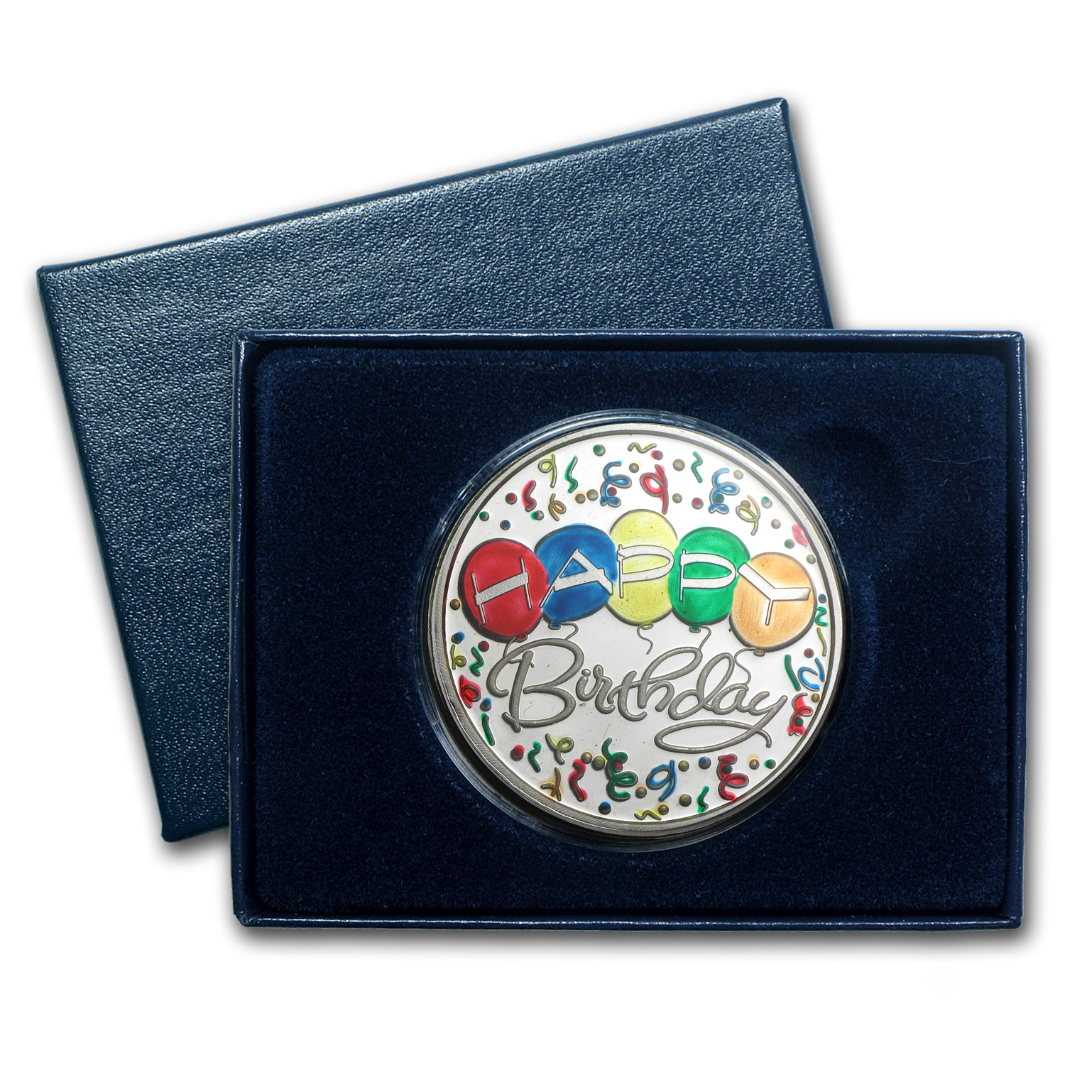 1 oz Silver Rnd - Happy Birthday Balloons (Enameled,w/Box & Cap)