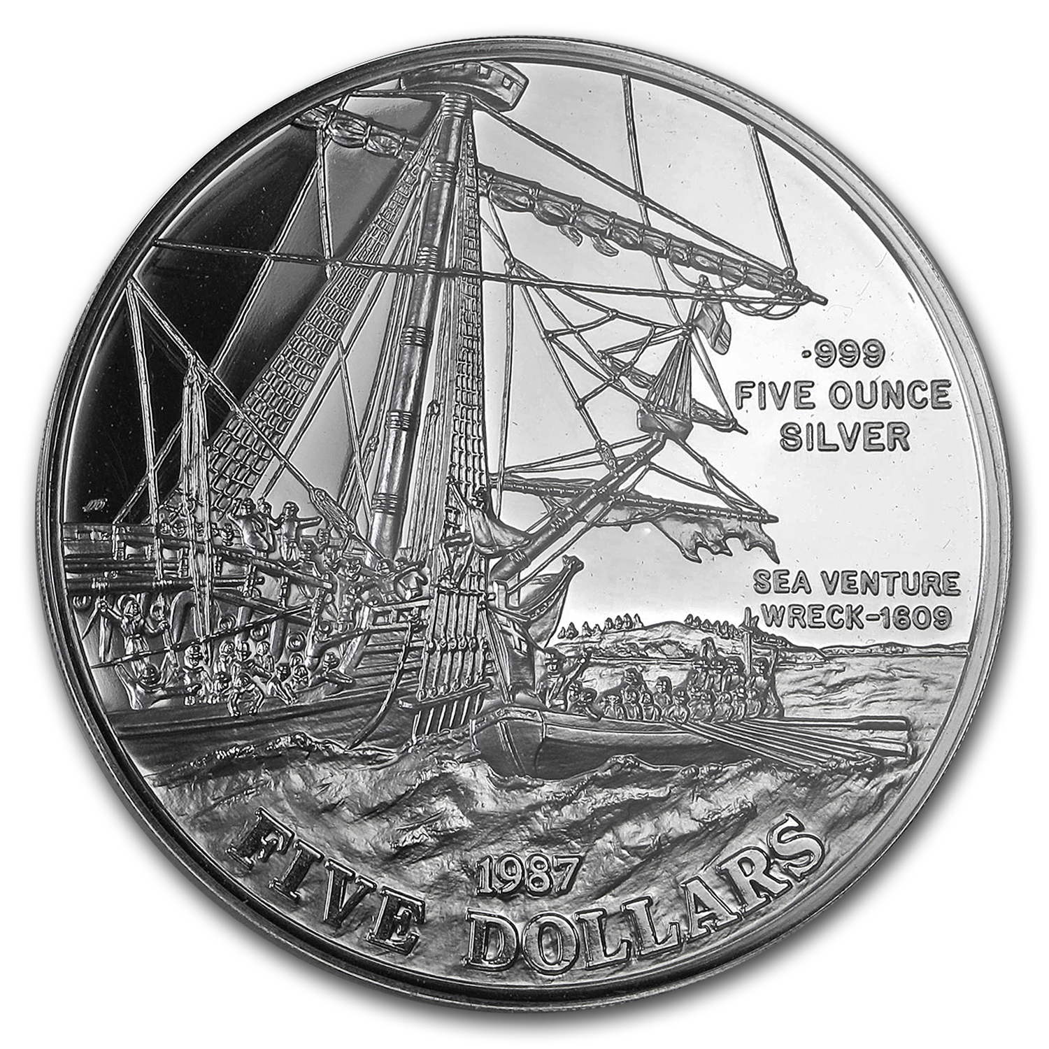 1987 Bermuda Proof 5 oz Silver 5 Dollars Sea Venture