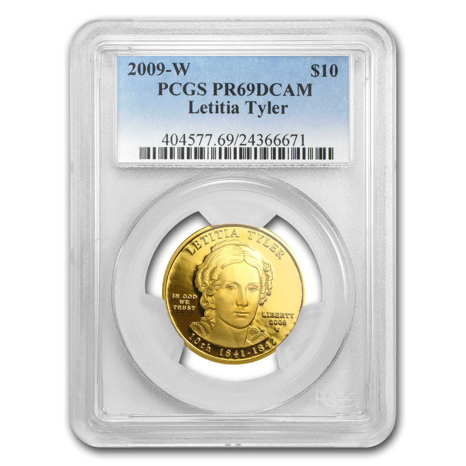 2009-W 1/2 oz Proof Gold Letitia Tyler PR-69 PCGS DCAM