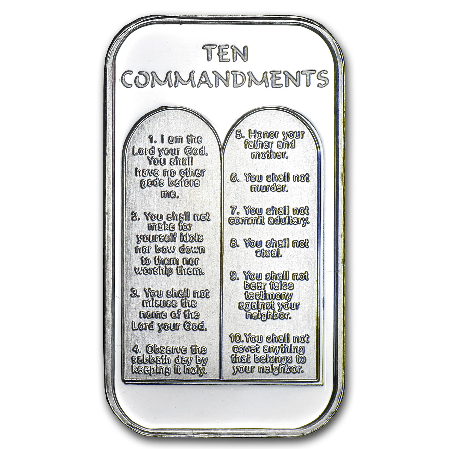1 oz Silver Bars - Ten Commandments (W/Box & Capsule)