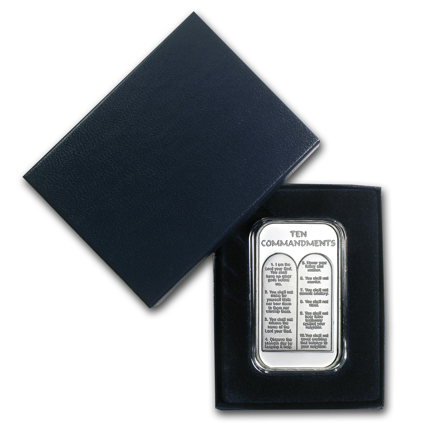 1 oz Silver Bar - Ten Commandments (w/Box & Capsule)