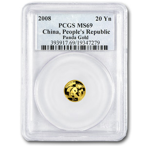 2008 China 1/20 oz Gold Panda MS-69 PCGS