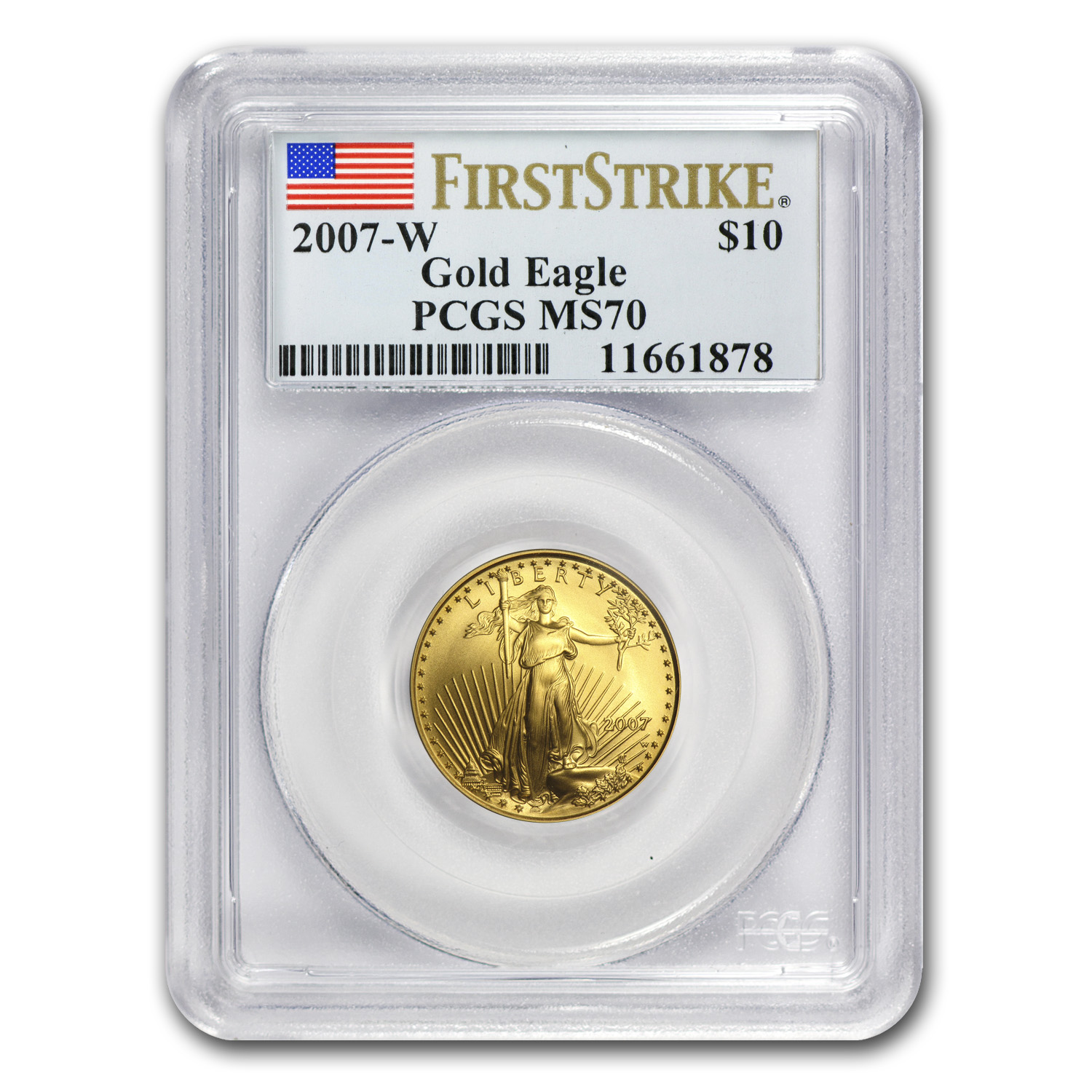 2007-W 1/4 oz Burnished Gold American Eagle MS-70 PCGS (FS)