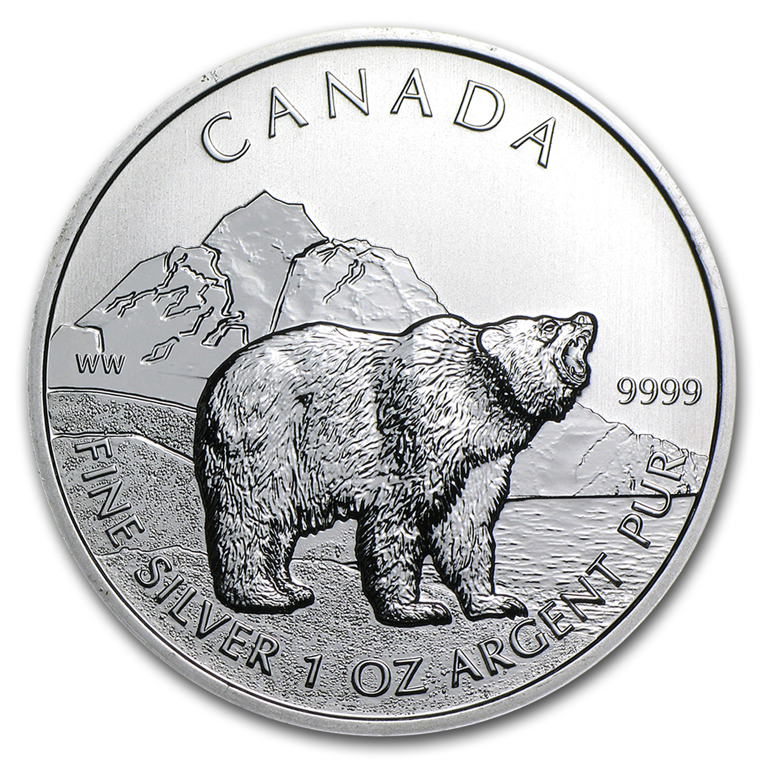 2011 Canada 1 oz Silver Wildlife Series Grizzly