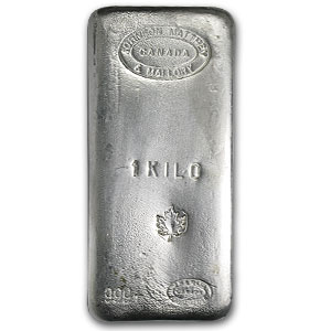 1 Kilo Silver Bar - Johnson Matthey & Mallory (Maple Leaf)