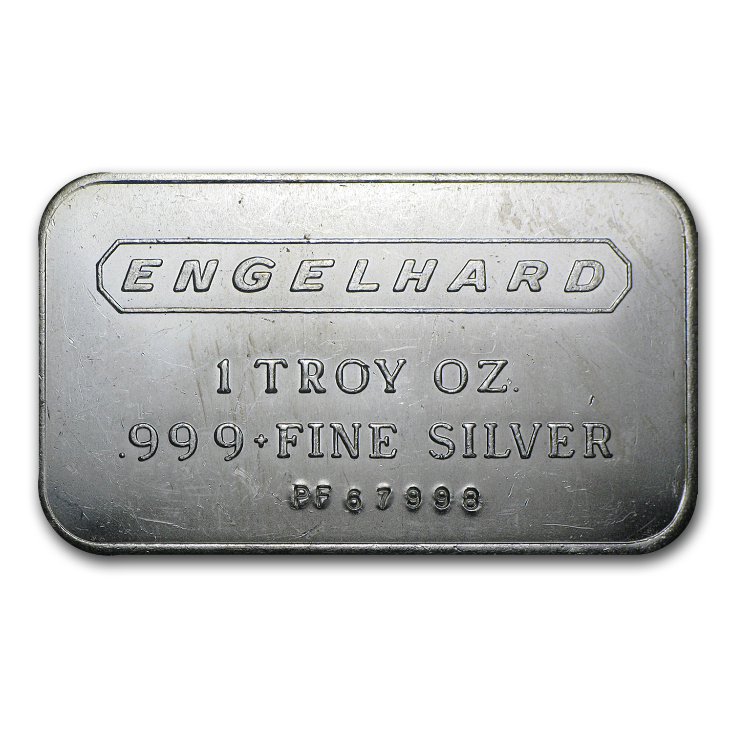 1 oz Silver Bar - Engelhard (Wide Logo, 5-digit, Frosted Back)