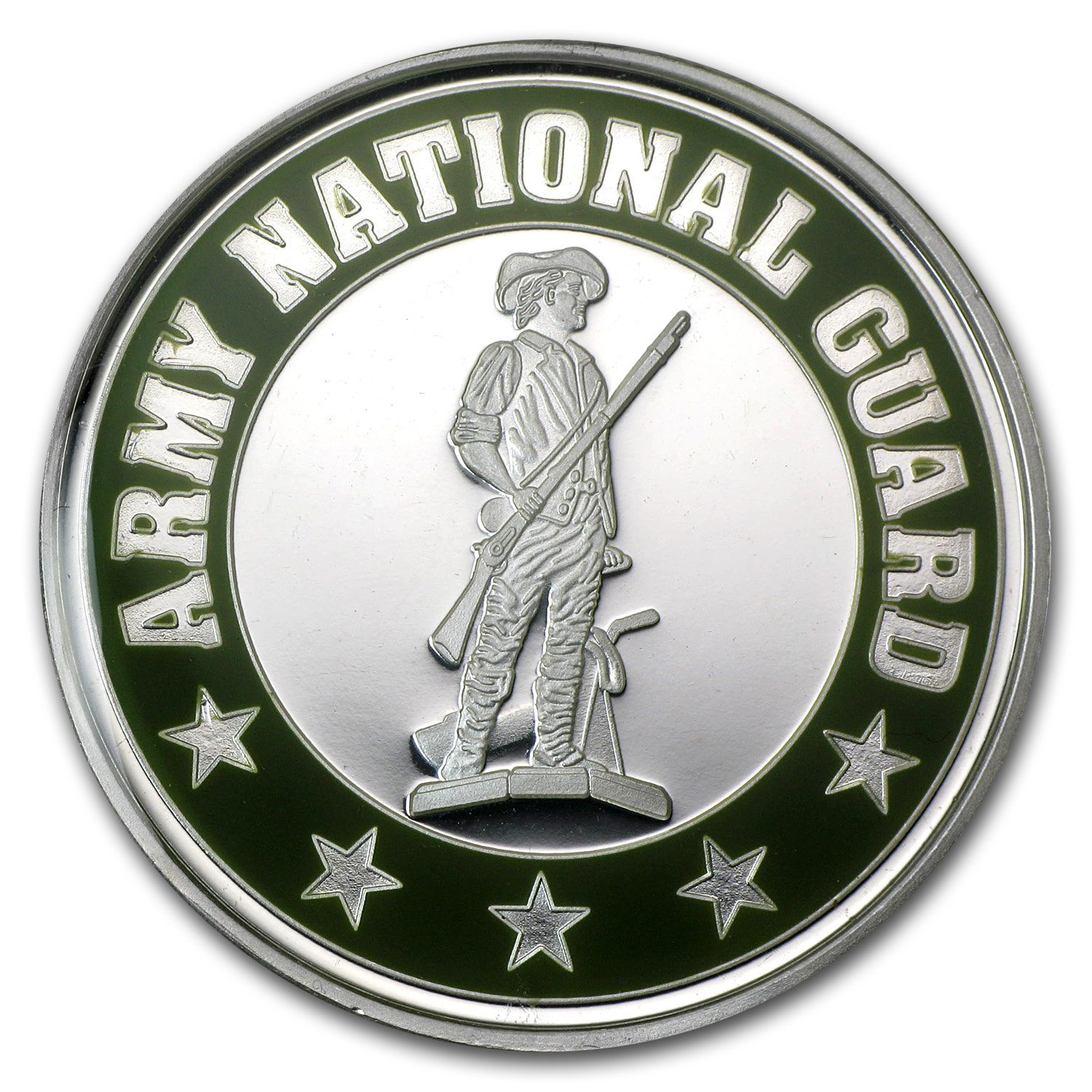 1 oz Silver Rnd - Army National Guard (Enameled, w/Box & Capsule)