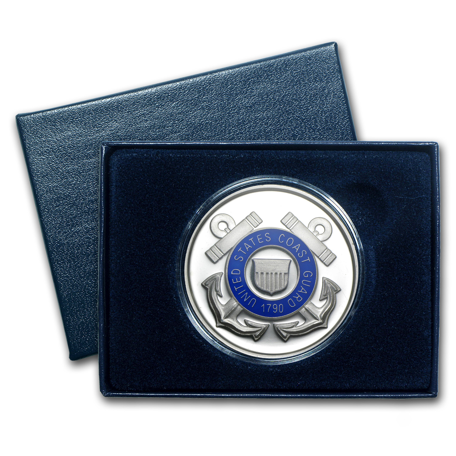 1 oz Silver Round - U.S. Coast Guard (Enameled, w/Box & Capsule)