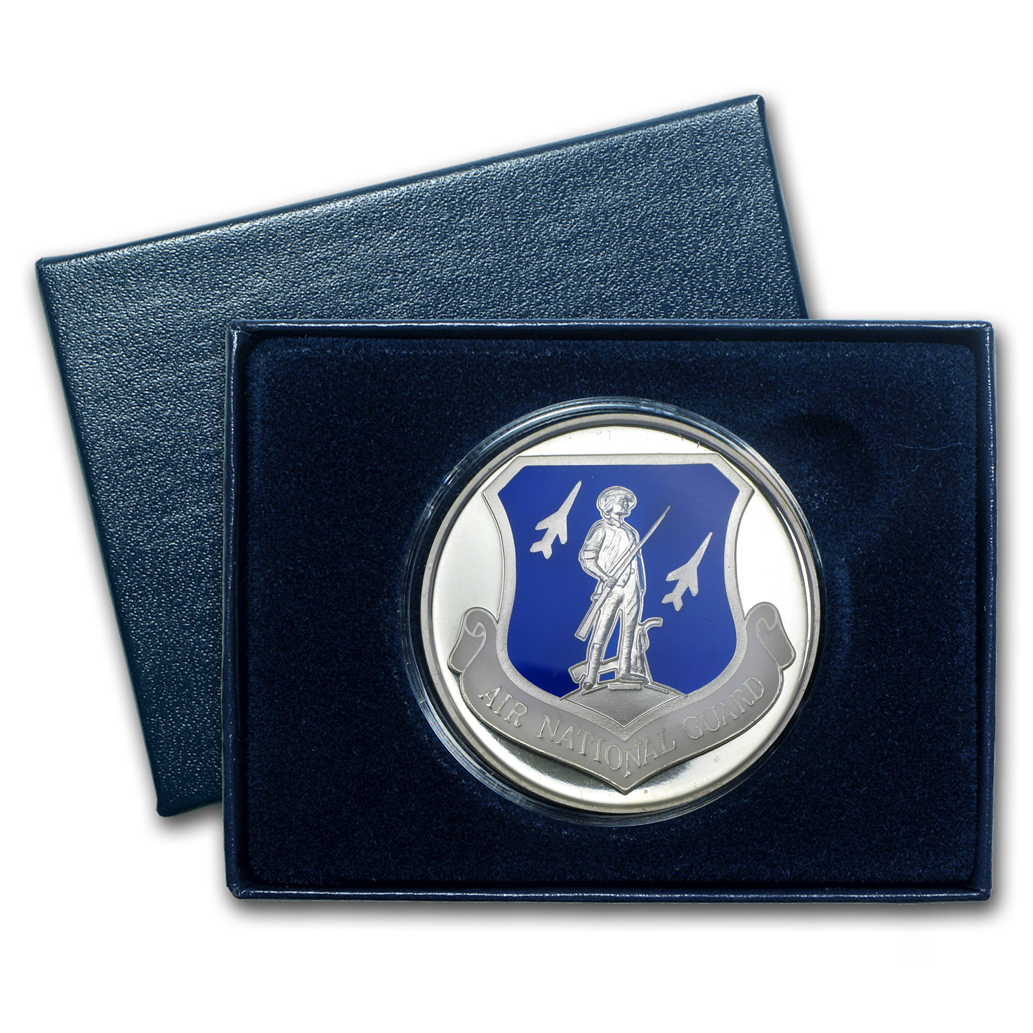 1 oz Silver Rnd - Air National Guard (Enameled, w/Box & Capsule)