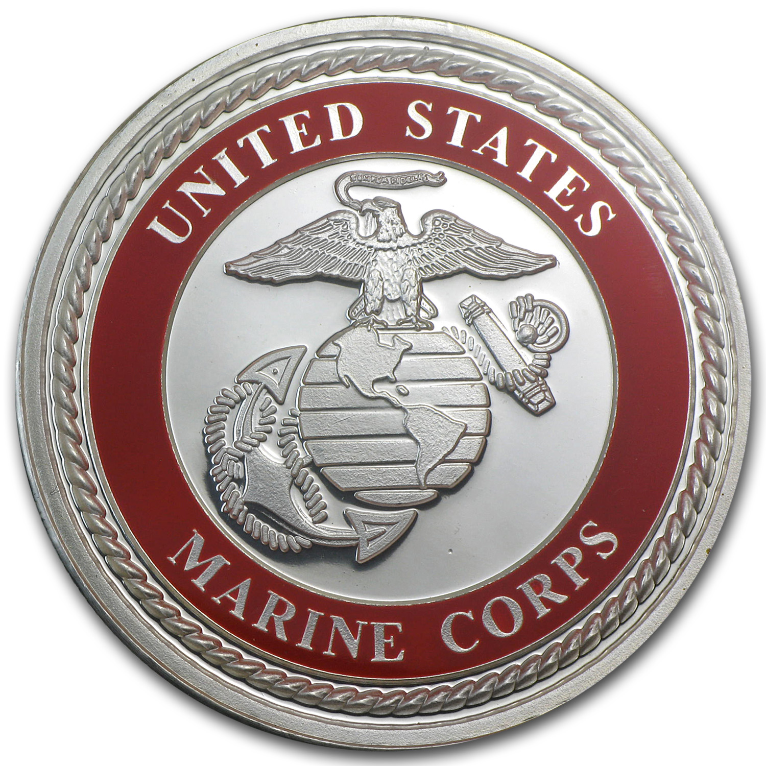 1 oz Silver Rounds - U.S. Marines Enameled (w/Box & Capsule)
