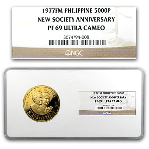 Philippines 1977 5000 Piso Gold Proof NGC PF69 UC