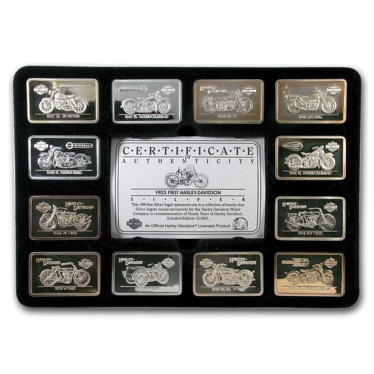 (24) 1.4 oz Silver Bars - 90th Anniv. HARLEY DAVIDSON (Set)