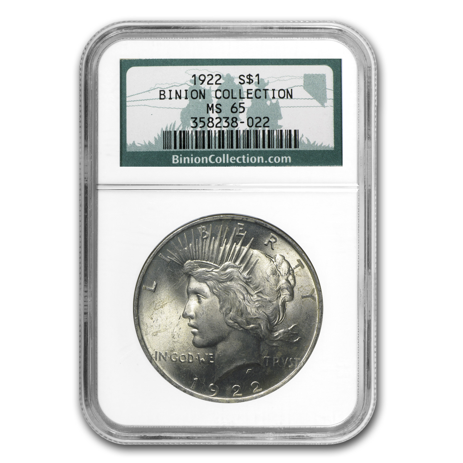 1922 Peace Dollar MS-65 NGC - Binion Collection