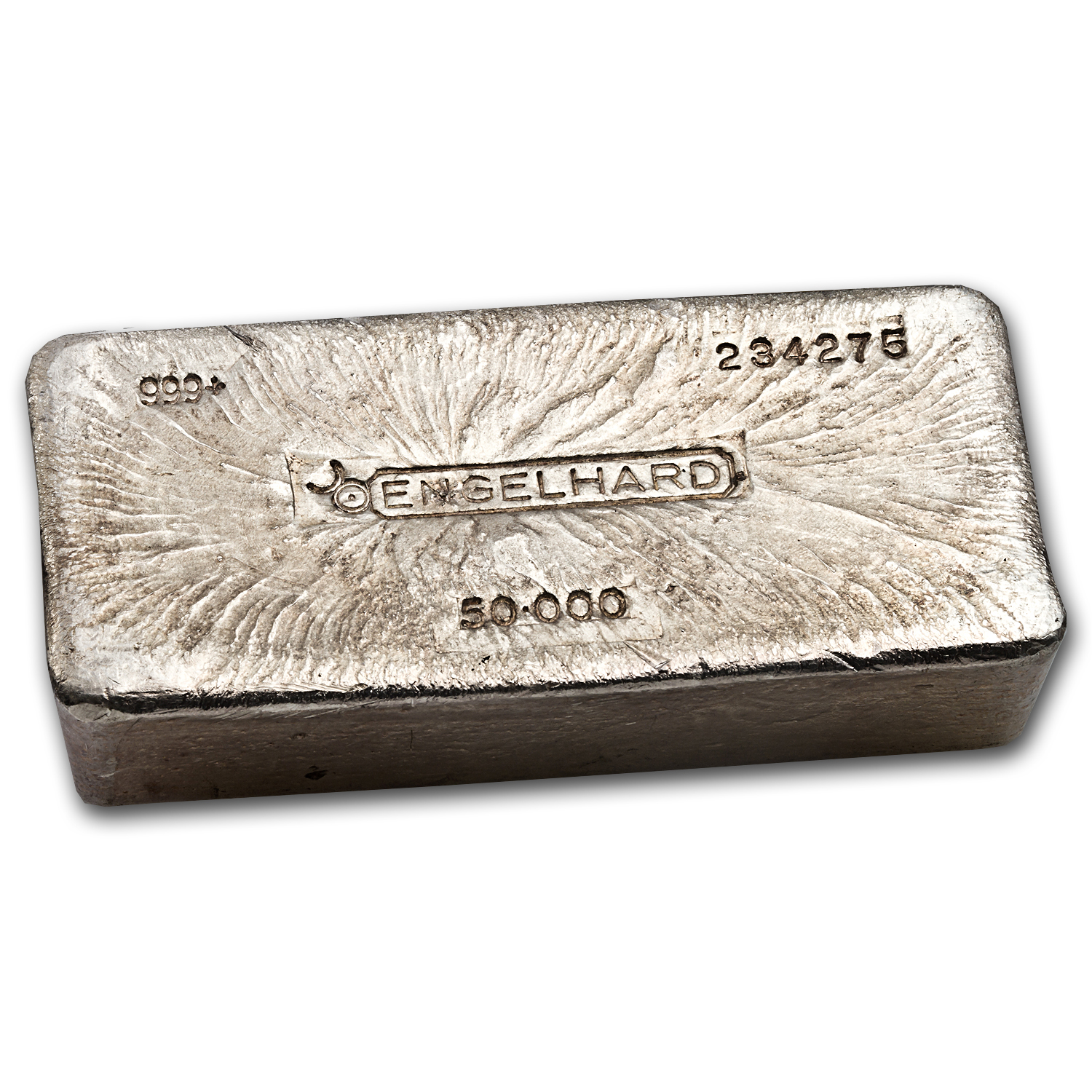 50 Oz Silver Bar Engelhard Poured Bull Logo 50 Oz