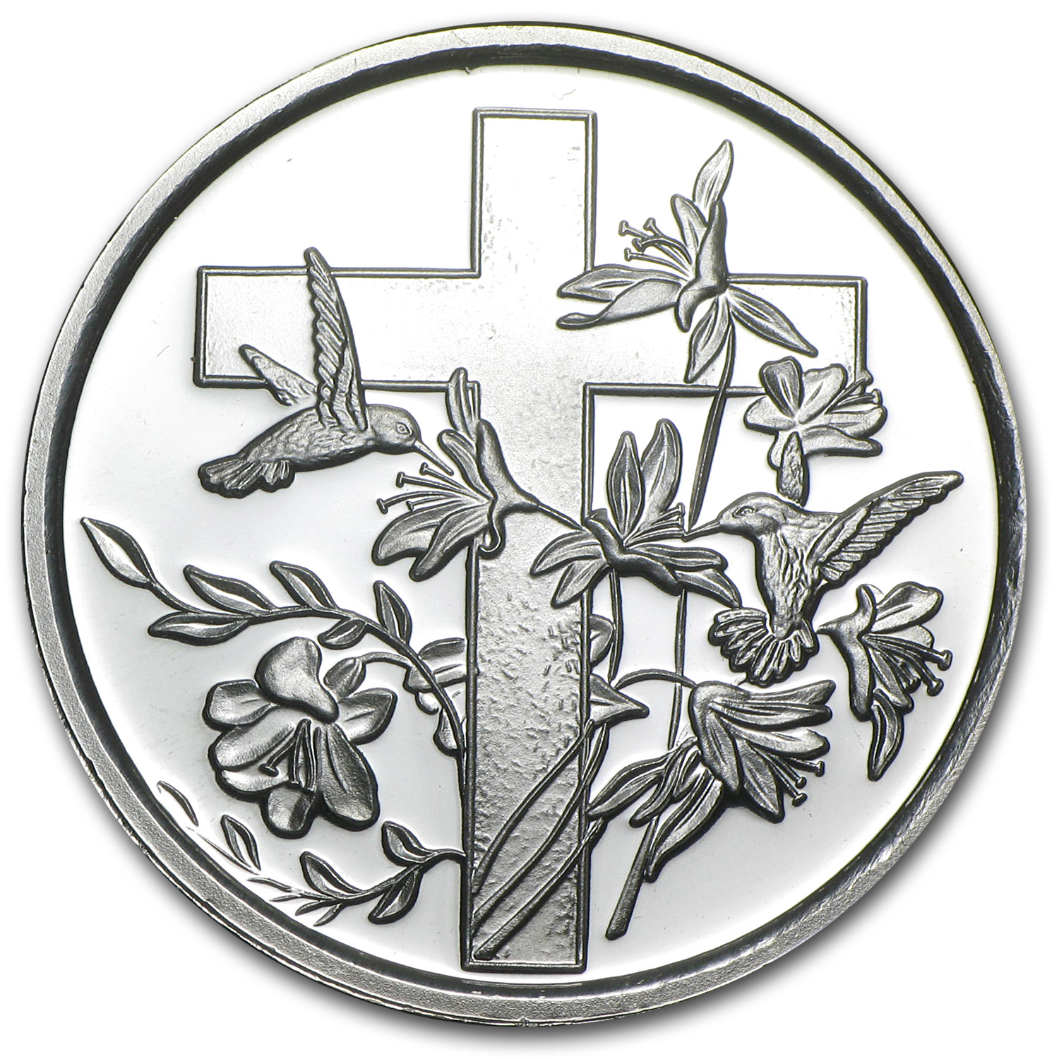 1 oz Silver Rounds - Religious Cross (w/Box & Capsule)