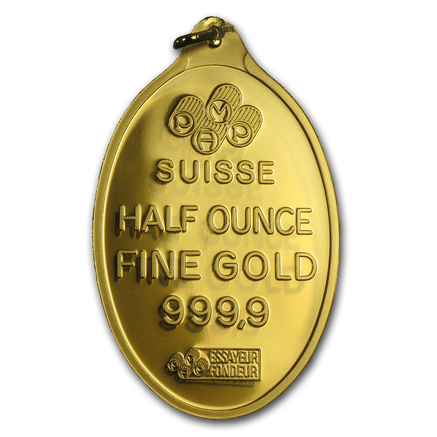 1/2 oz Gold Pendants - Pamp Suisse (Fortuna, Oval, w/Assay)
