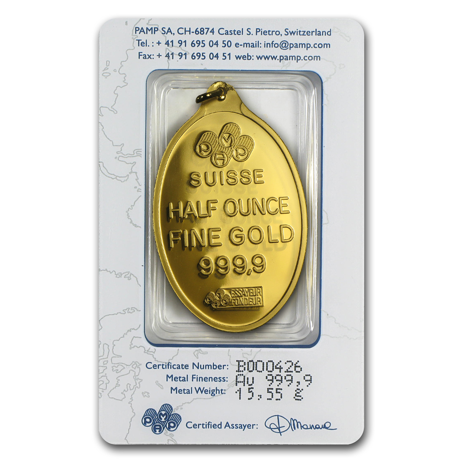 1/2 oz Gold Pendant - PAMP Suisse (Fortuna, Oval, w/Assay)