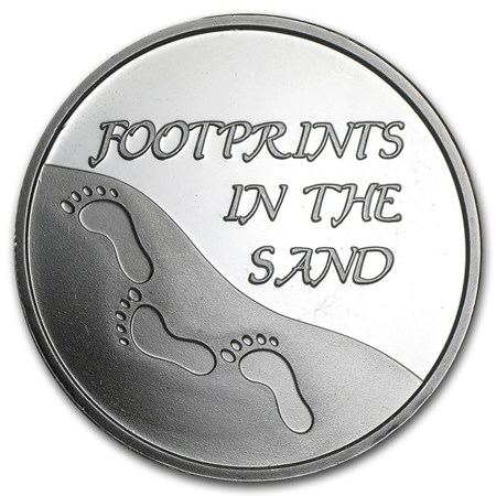 1 Oz Silver Round Footprints In The Sand W Box
