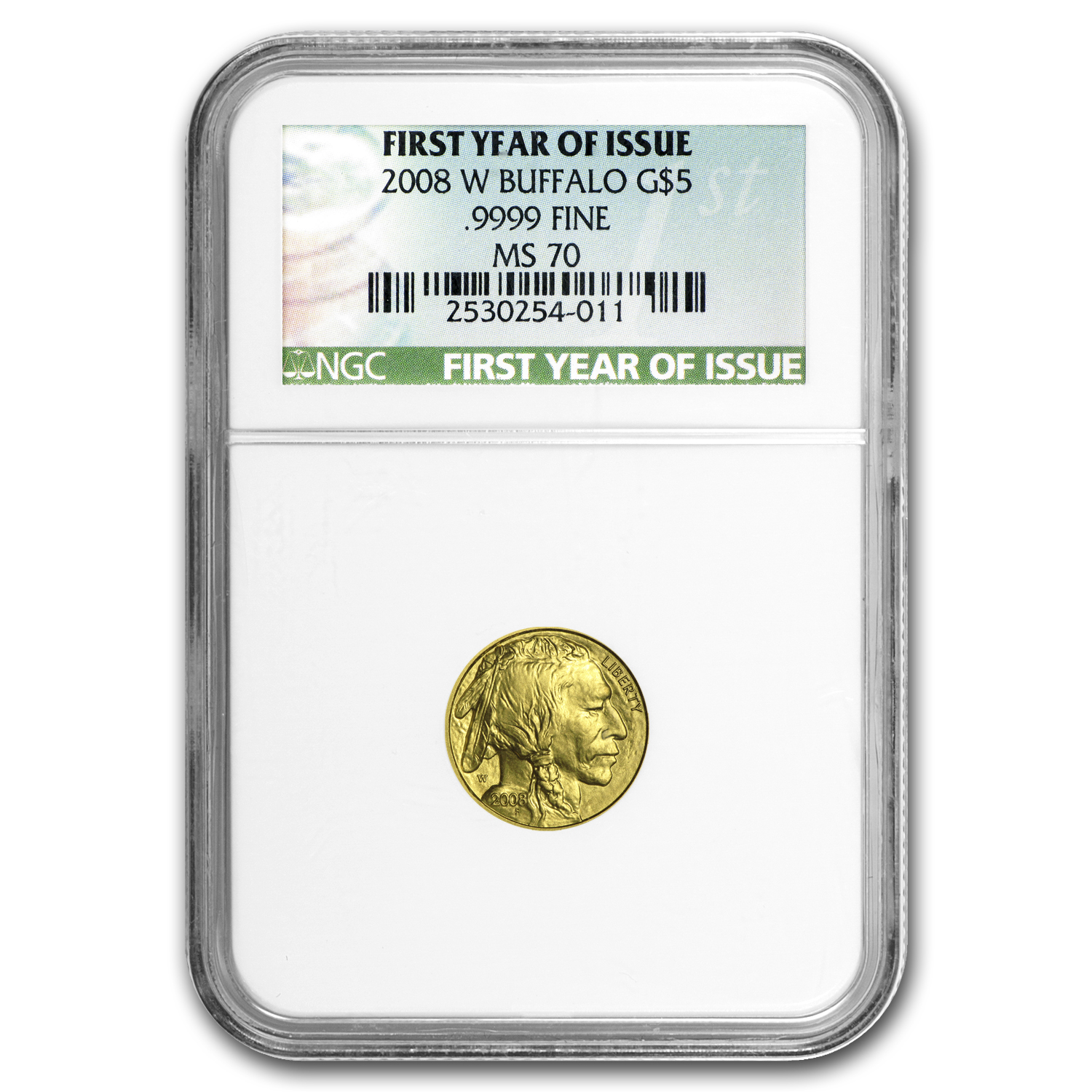 2008-W 1/10 oz Gold Buffalo MS-70 NGC (First Year of Issue)