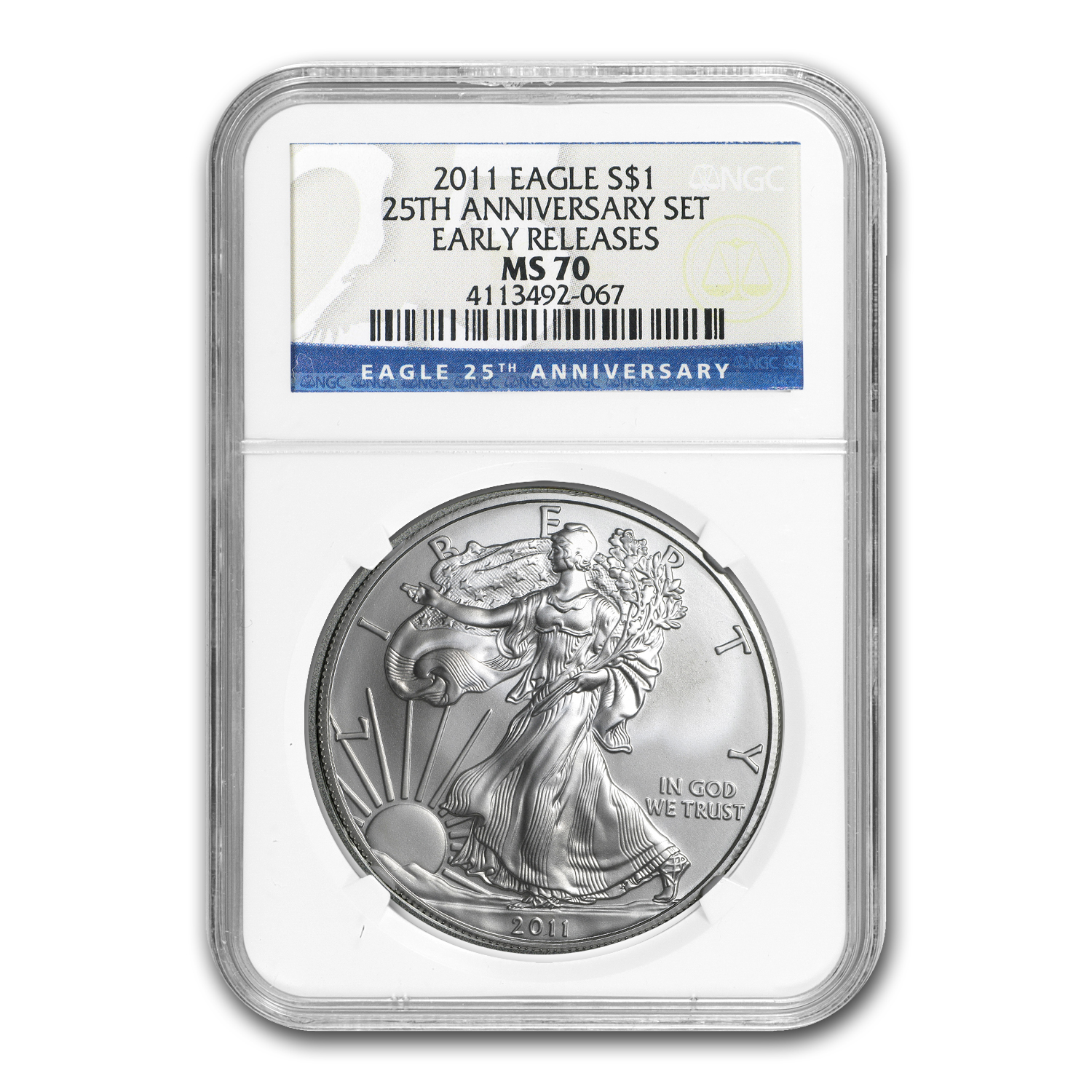 2011 Silver Eagle MS-70 NGC (25th Anniv, Early Releases)