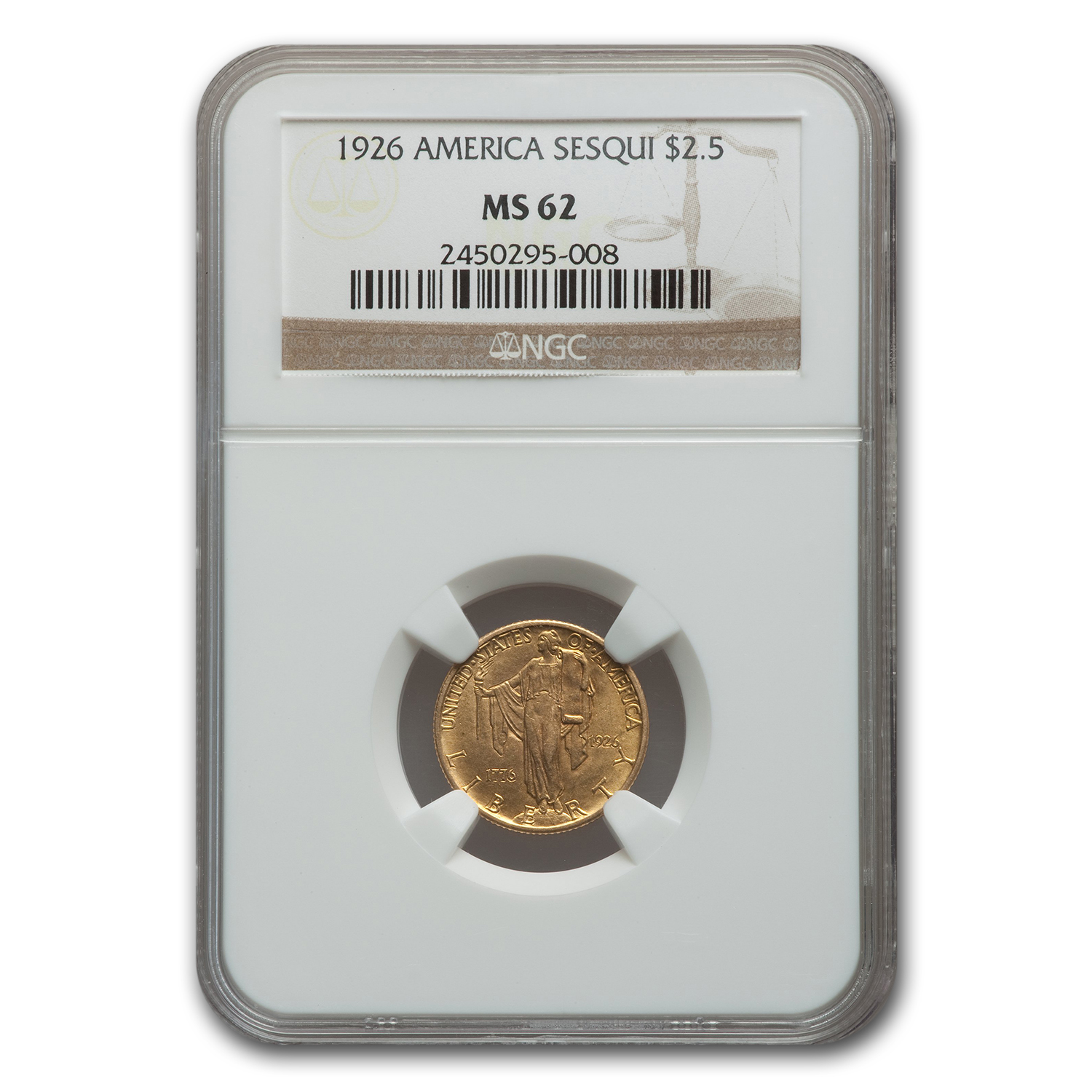 1926 Gold $2.50 America Sesquicentennial MS-62 NGC