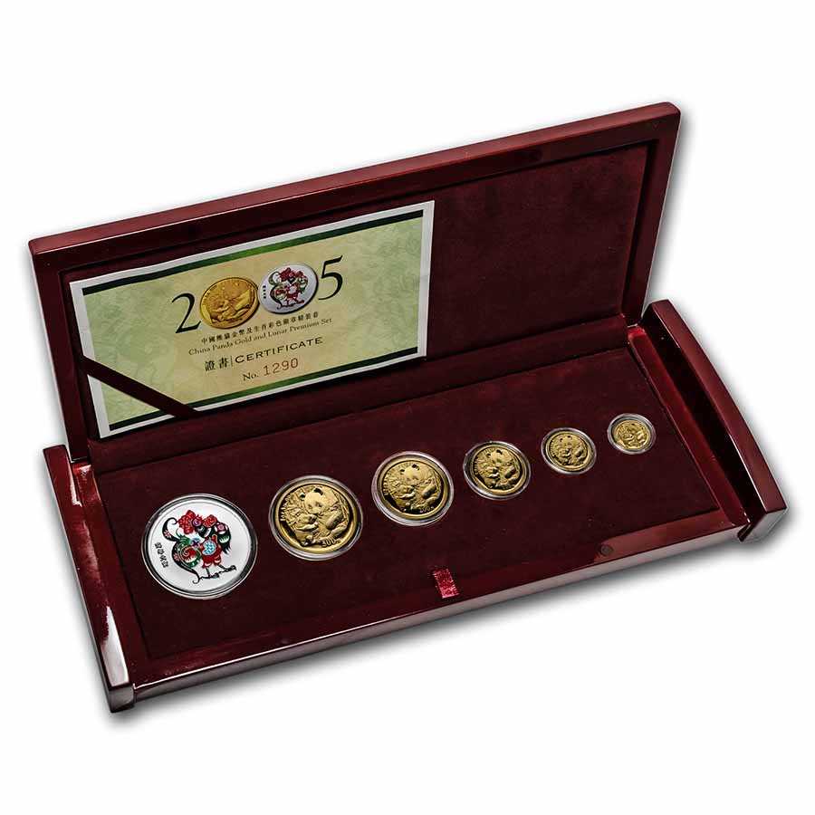 2005 China 6-Coin Gold Panda and Lunar Premium Rooster Set BU