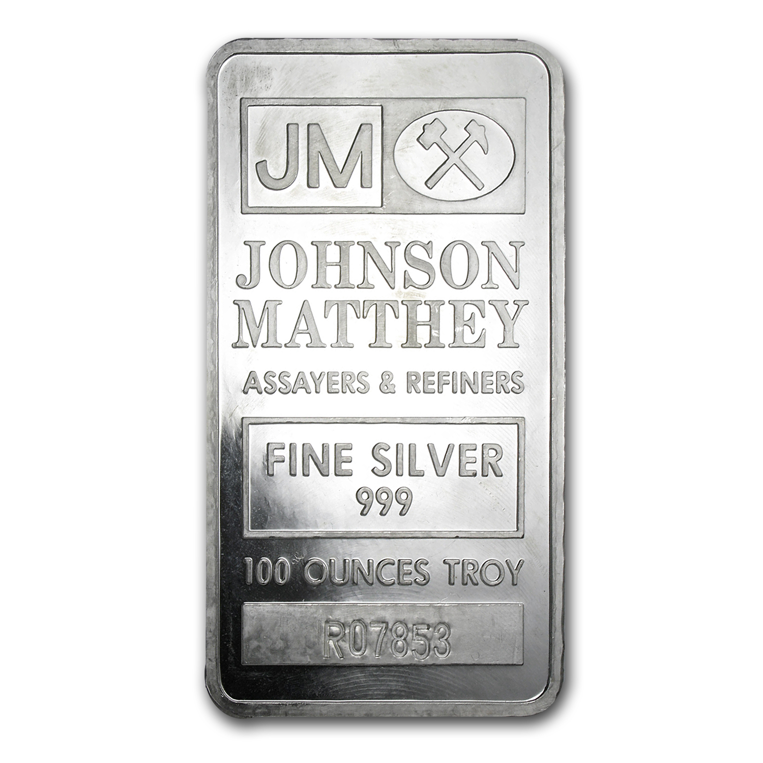 100 oz Silver Bar - Johnson Matthey (Pressed)