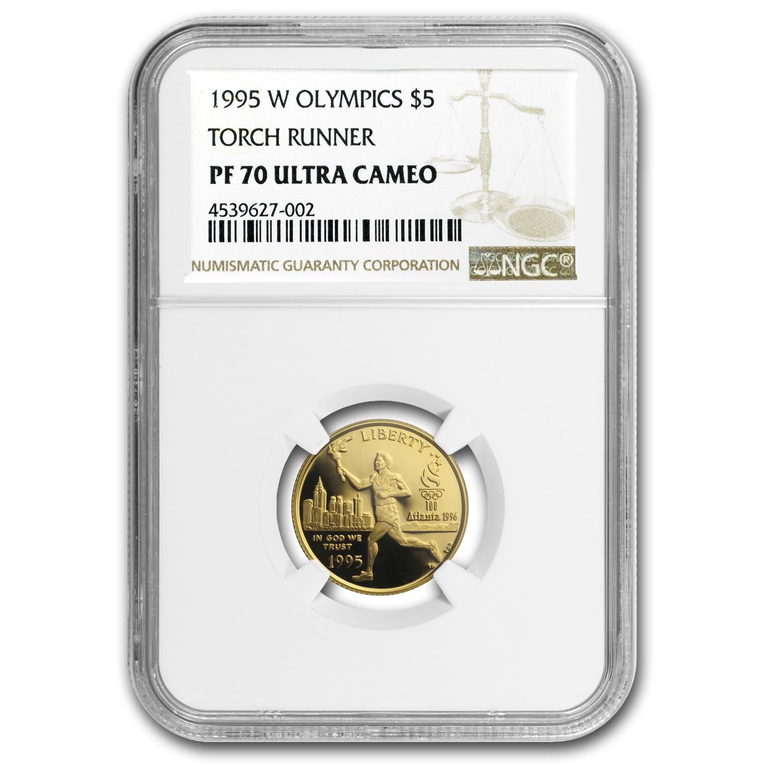 1995-W Olympic Torch Runner - $5 Gold Commem - PF-70 UCAM NGC
