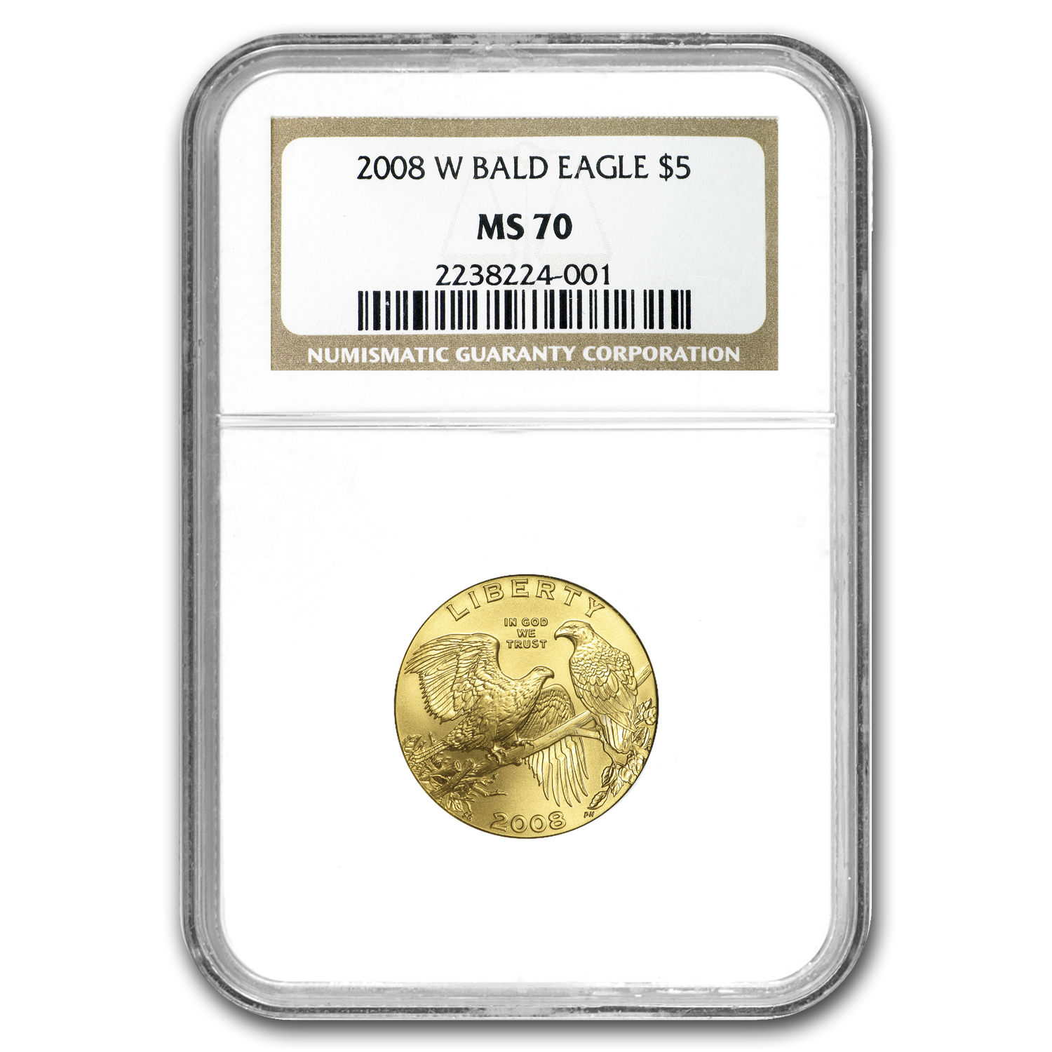 2008-W $5 Gold Commemorative Bald Eagle NGC MS-70