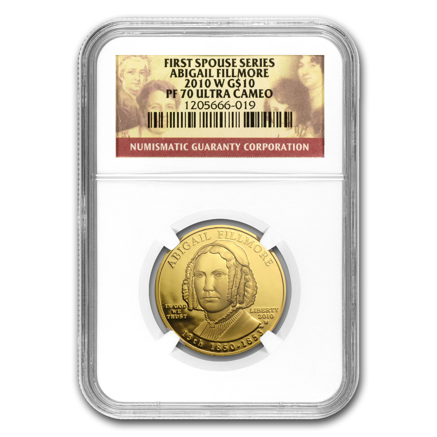 2010-W 1/2 oz Proof Gold Abigail Fillmore PF-70 NGC UCAM