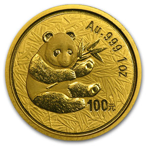 2000 1 oz Gold Chinese Panda Frosted Ring (Abrasions)