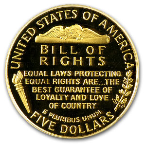 1993-W Gold $5 Commem Bill of Rights PR-70 PCGS