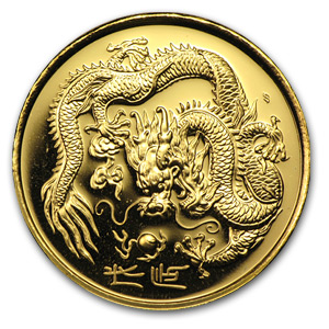 1988 Singapore 1/2 oz Proof Gold 50 Singold Dragon