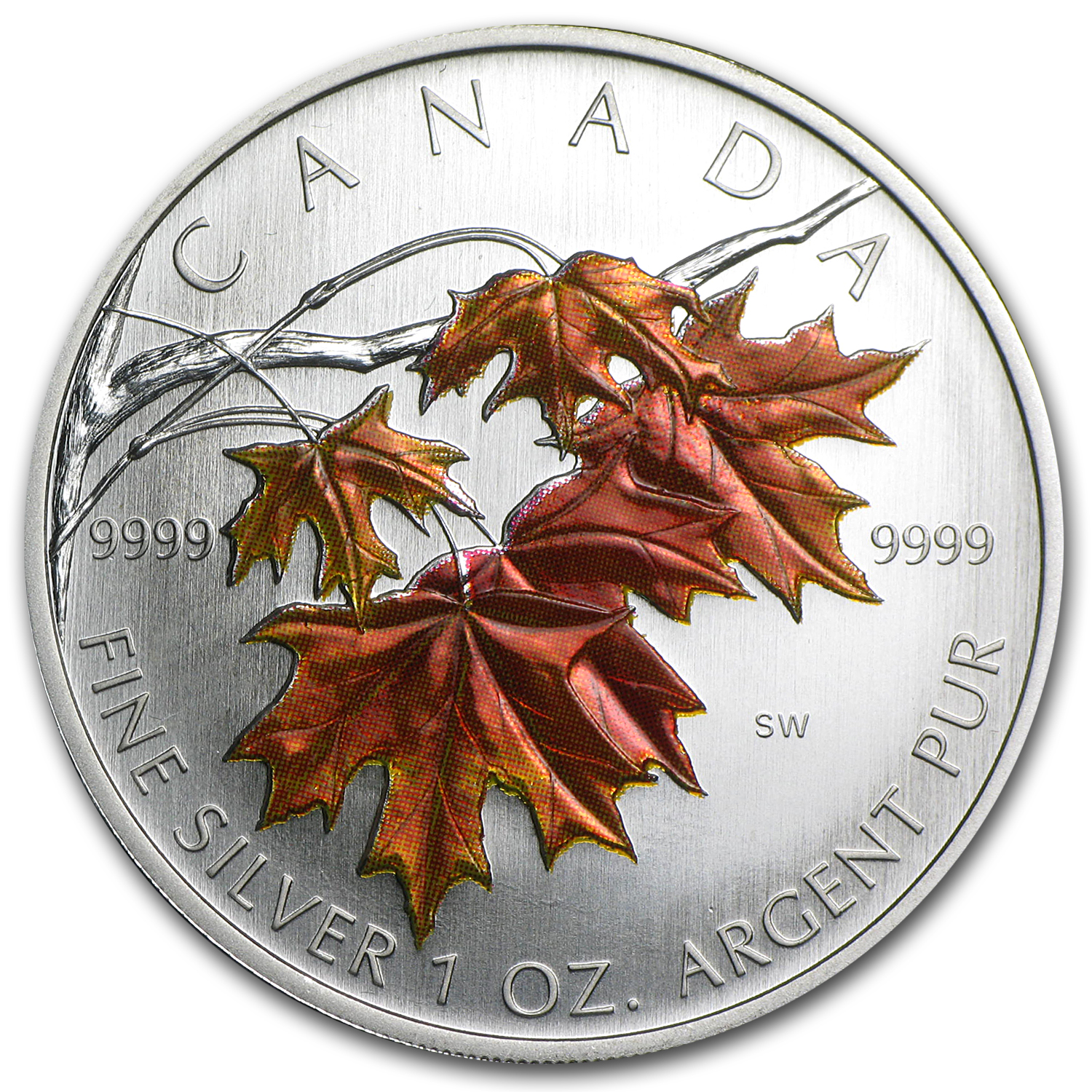 2007 1 oz Silver Canadian Maple Leaf (Sugar Maple, Coloured)