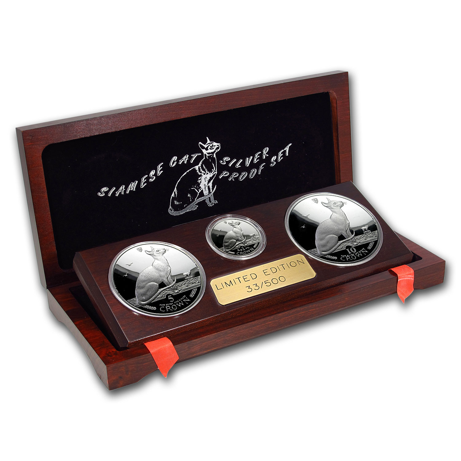1992 Isle Of Man 3 Coin Silver Siamese Cat Proof Set