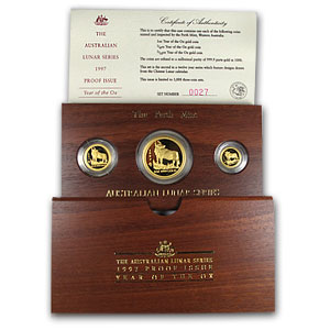 1997 Proof Gold Year of the Ox Lunar 3-Coin Set (Series I)