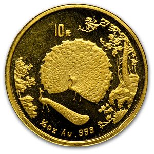 China 1993 10 Yuan 1/10 oz Gold Peacock
