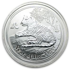 2010 1/2 oz Silver Australian Year of the Tiger Coin (Abrasions)