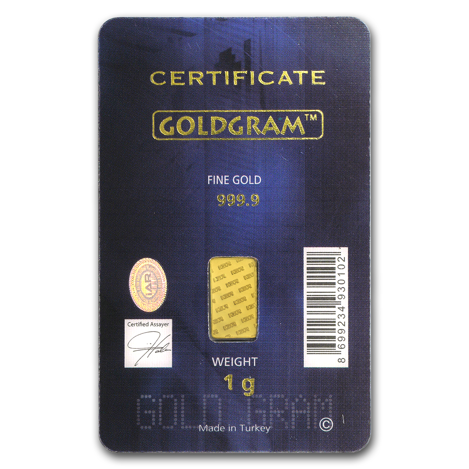 1 gram Gold Bar - Istanbul Gold Refinery (In Assay)