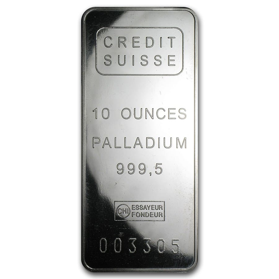 10 oz Palladium Bar (Secondary Market) .999 Fine