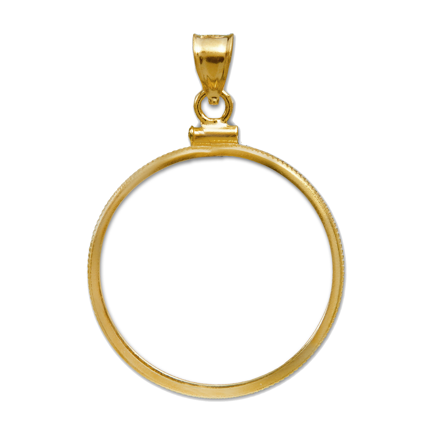 14K Gold Screw-Top Plain Front Coin Bezel - 14 mm