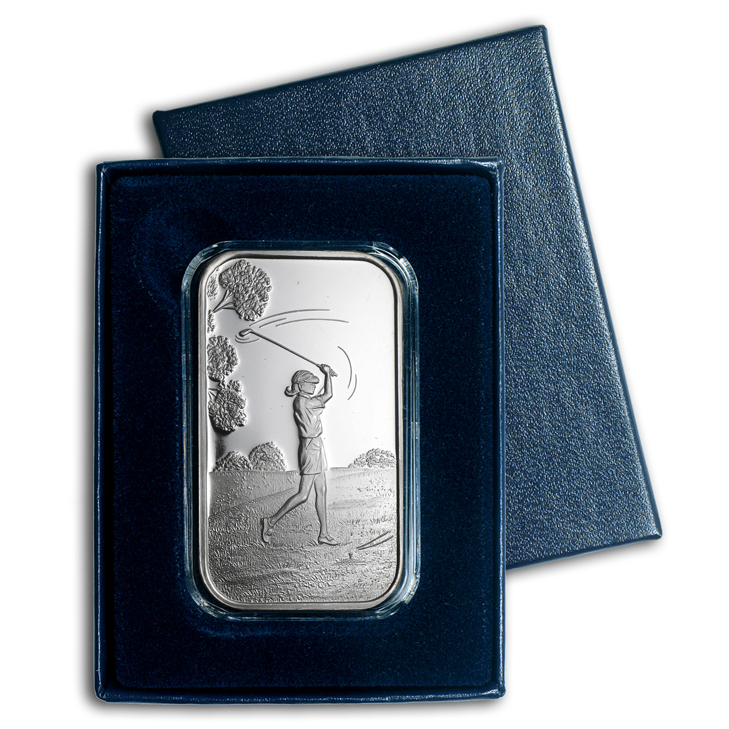 1 oz Silver Bar - Female Golfer (w/Gift Box & Capsule)