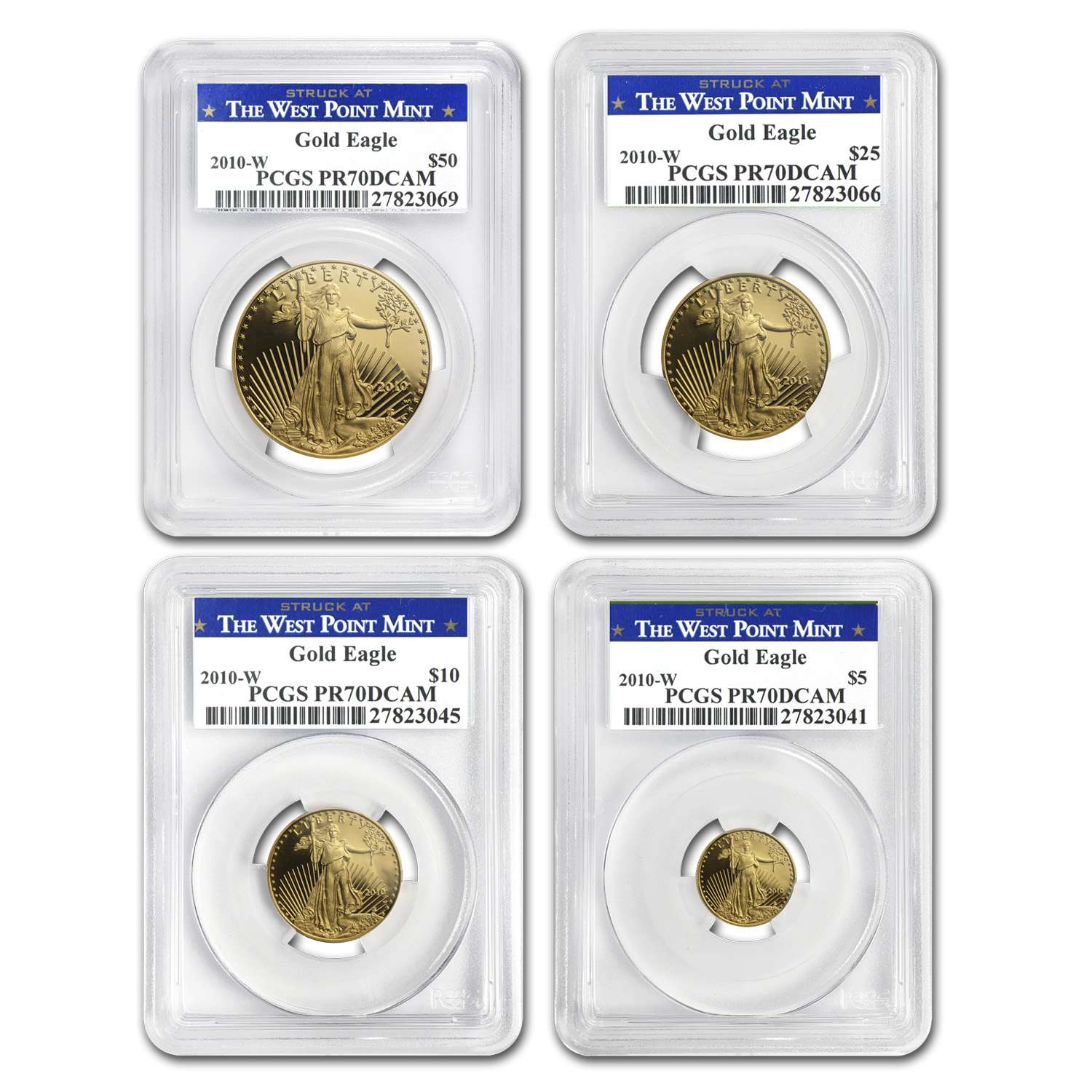 2010-W 4-Coin Proof Gold American Eagle Set PR-70 PCGS